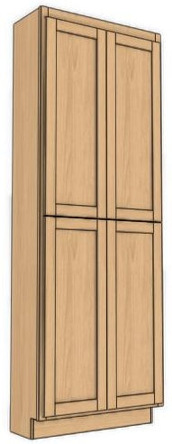 "Four Door Utility Cabinet 96"" High Countertop Depth Roundover"