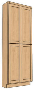 "Four Door Utility Cabinet 90"" High Countertop Depth Ogee"