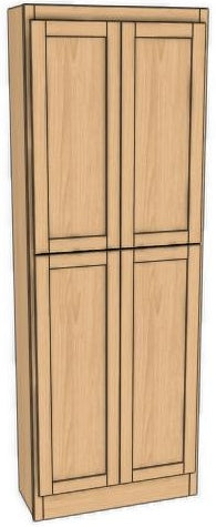 "Four Door Utility Cabinet 90"" High 12"" Depth Ogee"