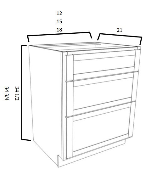 Three Drawer Stack Vanity