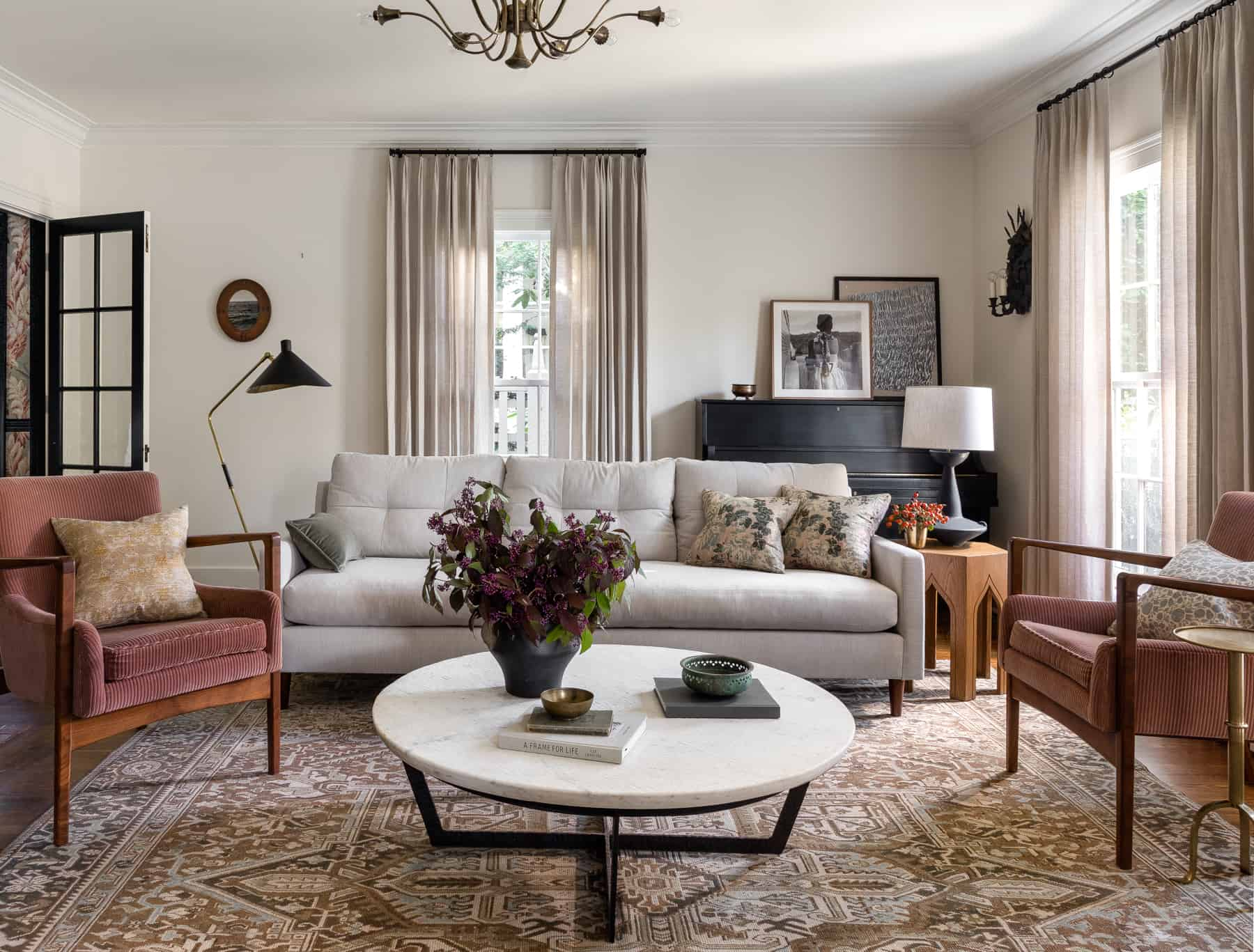 neutral living room with antique rug