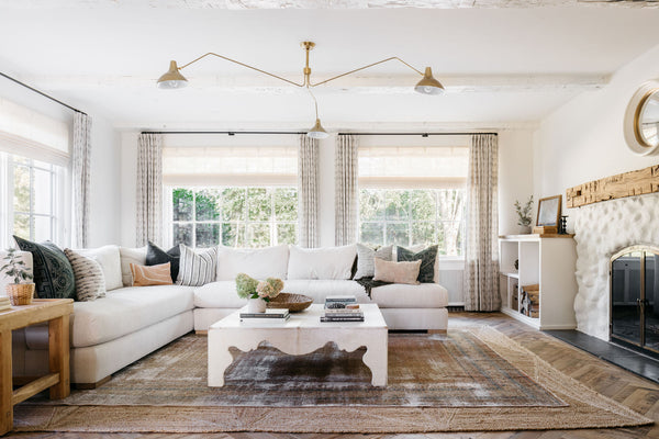 living room with vintage rug