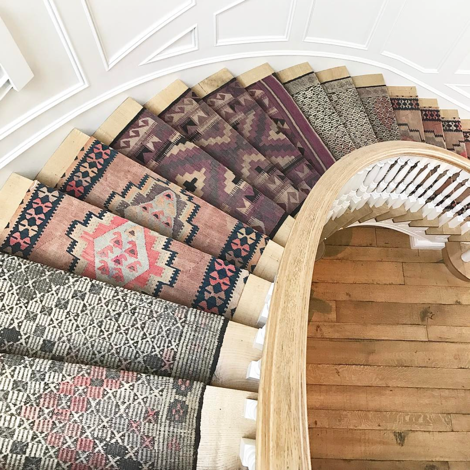 stairs with runner made from vintage rugs