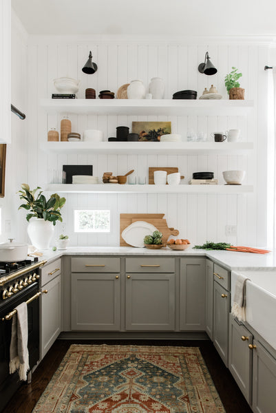 kitchen with griege cabinets