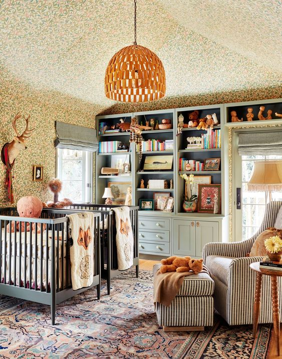 Nursery design with a vintage rug