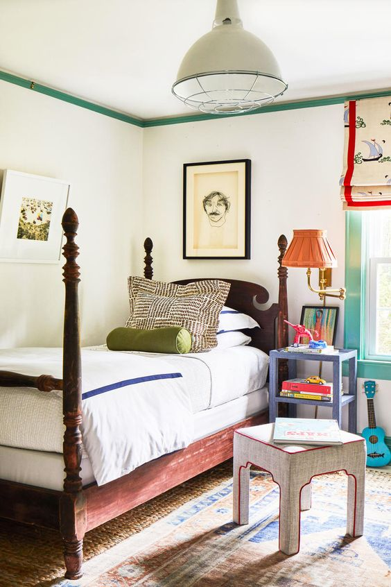 Children's room with a vintage rug
