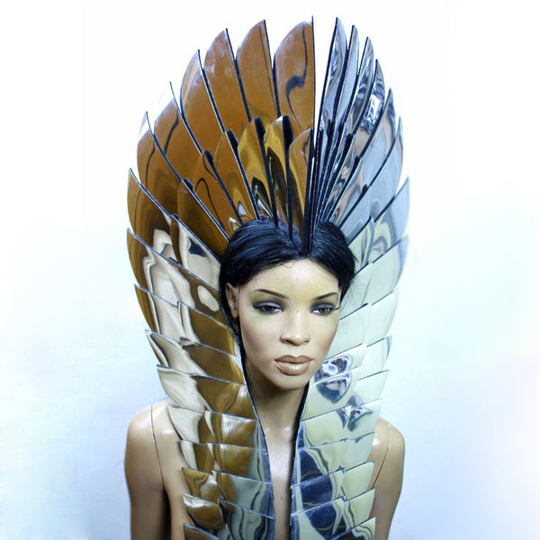 Indian war Bonnet, Native American Indian headdress, navajo feather headpiece, chief headpiece in chrome or gold futuristic hairdress