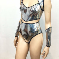 Plain Chrome High waisted shorts bottom , chrome shorts,silver bottoms, short pants , futuristic chrome high waist bottom