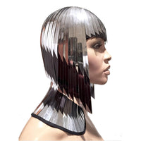 2 tone owl forehead Cleopatra metallic wig hairdress in chrome or gold egyptian goddess wig bob hairpiece bobcut headpiece metal futuristic