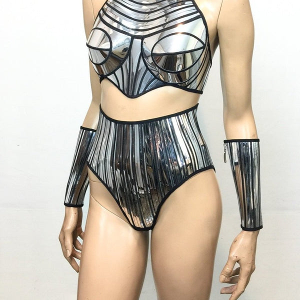 Chrome High waisted shorts bottom , chrome shorts,silver bottoms, short pants , futuristic chrome embroidered high waist bottom