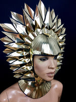 Cleopatra Egyptian goddess metallic headpiece in chrome or gold futuristic hairdress