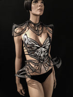 Organic collar from divamp couture , neck piece, fetish gothic cosplay armor scifi clothing futuristic cybergoth