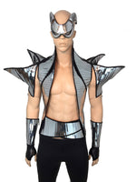 Manta ray stole , chrome spiked backpiece , dragon vest