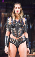 art deco inspired corset , burlesque performer futuristic gear
