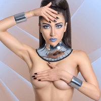 chrome neck corset armour posture necklace gothic choker in chrome slave collar futuristic bdsm fetish steampunk cyber goth lacer