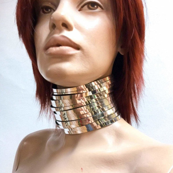 Ancient tribal style neck corset Kayan necklace , African choker ,Asian rings collar , posture neck corset , metal collar