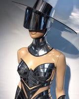 Futuristic chrome Zorro big hat ,Big brim ,floppy hat ,fedora ,including see through mirror visor