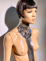 Fringe collar ,chocker , necklace with tassels 32 inch long ,silver chrome metallic and black fringes.