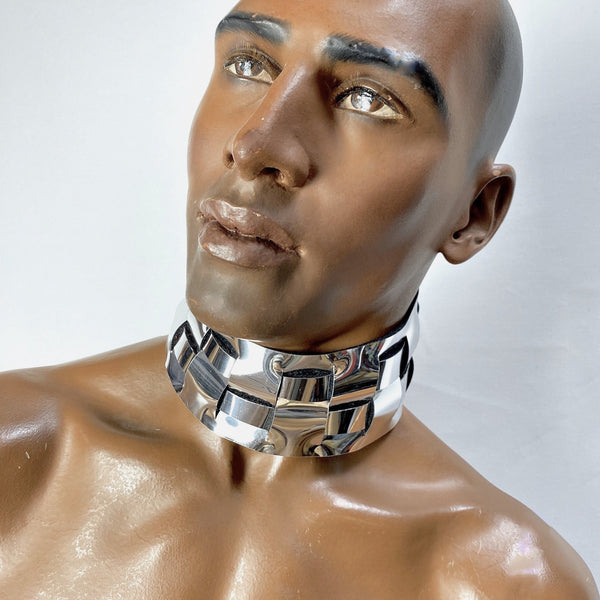 futuristic male posture collar, cyborg, punishment necklace