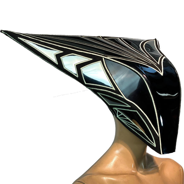 Mantis helmet, Glow in the dark Alien cyborg mask ,a headpiece for a robot costume, sci fi  futuristic cyber headdress divamp couture