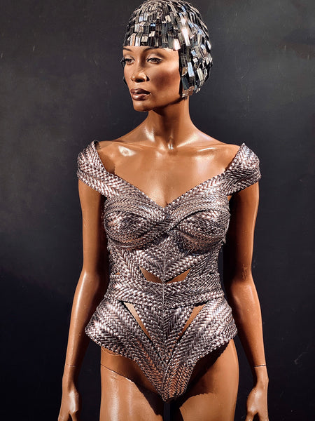 Biomech woven silver corset, bodysuit, robot, cyber, out of space top