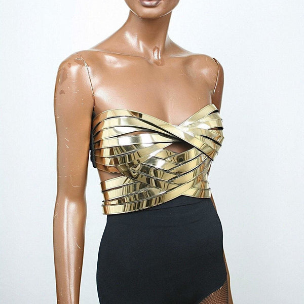 Divamp Couture Cleopatra Bustier, Egyptian goddess top, metal corset