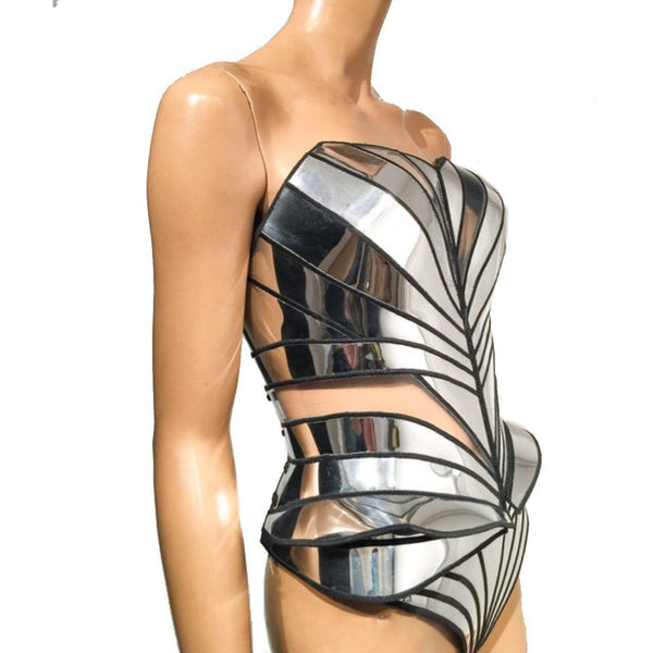 organic shaped corset in chrome and clear pieces,robot costume, futuristic cosplay corset , sci fi costume, lady gaga corset , burning man