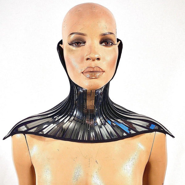 Invertable High Posture collar , boned neck corset necklace, metallic gothic choker futuristic fetish steampunk cyber goth lacer