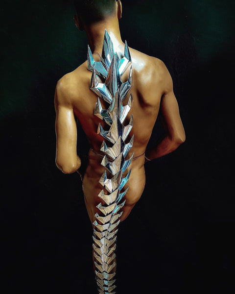 5 feet vertebrae, silver tail, alien costume