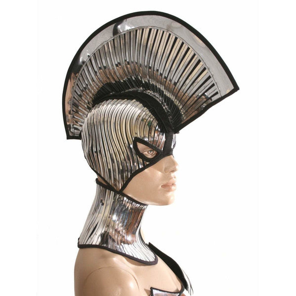 2 piece gladiator spartan mask and mohawk warrior headpiece armor sci fi  futuristic steampunk cyber headdress cybergoth divamp couture