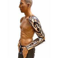 shoulder armor , robot arm , cyborg arm armour , mechanical arm, futuristic prosthetic men or women