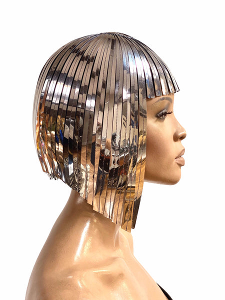 THE ORIGINAL Divamp Silver WIG ,Cleopatra metallic wig ,gold wig, hairdress  egyptian wig, bob wig ,hairpiece headpiece metal futuristic