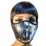 Futuristic chrome  face mask, mouth mask,scifi muzzle, metal mask with washable filter