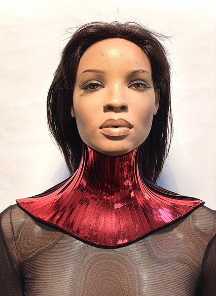 Red metallic neck corset, necklace gothic choker, cybergoth collar