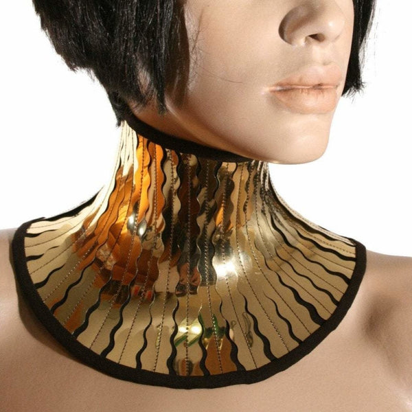 Gold cleopatra neck corset armor necklace gothic choker in chrome slave collar victorian edwardian  steampunk cyber goth