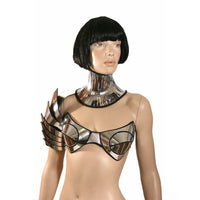 rave bra, cybergoth top, futuristic costume, metal top , divamp couture FREE SHIPPING