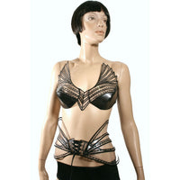 fetish goth clear wing top , steampunk bustier , apocalyptic gothic costume , corset top