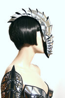 Gladiator mask spartan futuristic helmet  warrior mask headpiece armor sci fi  cyber headdress cybergoth divamp couture
