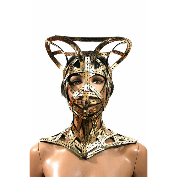 meccano gold cage mask helmet modern warrior helmet scifi warrior headpiece bondage sci fi  futuristic steampunk cyber headdress superhero