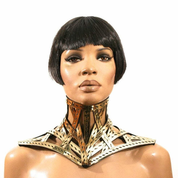Gold cage neck corset armour posture necklace gothic choker in chrome slave collar victorian edwardian bdsm fetish steampunk cyber goth
