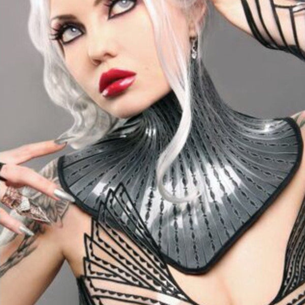 Giger Dark fetish gothic victorian neck corset armor necklace goth choker slave collar victorian edwardian bdsm fetish steampunk cyber got