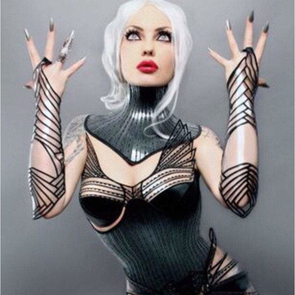clear embroidered gauntlets arm cuffs futuristic sci fi fingerless gloves slave cuffs cybergoth steampunk bracelets