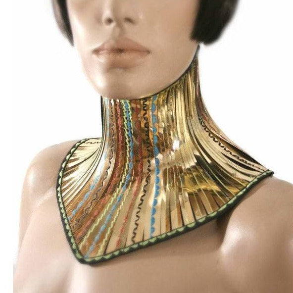 gold African tribal neck corset armor necklace gothic choker in chrome slave collar victorian edwardian bdsm fetish steampunk cyber goth
