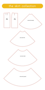 custom sewing slopers from the skirt collection including pencil skirt, circle skirt, half circle skirt, quarter circle skirt and double circle skirt
