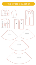 Load image into Gallery viewer, sewing slopers in the dress collection including dress sloper, skirt sloper, circle skirt, bodice sloper, sleeve sloper