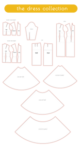 sewing slopers in the dress collection including dress sloper, skirt sloper, circle skirt, bodice sloper, sleeve sloper