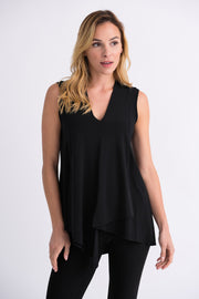 Joseph Ribkoff Black Asymetric Sleeveless Tunic Style 161060
