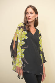 Joseph Ribkoff Black & Multi Color Cut-Out Sleeve Blouse Style 211030