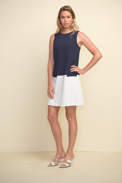 Joseph Ribkoff Navy & Vanilla Colour Blocked Dress Style 211091