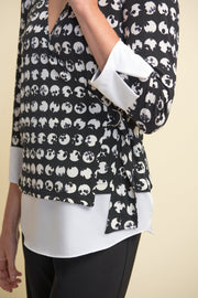 Joseph Ribkoff Black White Belted Printed Blouse Style 211140